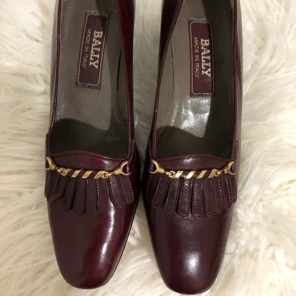 26c464ca65066 NEW WOMEN VINTAGE BALLY LEATHER HEELED LOAFER 8N